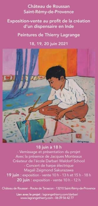 exposition peinture au profit de la création d'un dispensaire Darbari Waldorf School INDIA